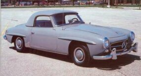 "An optional top turned the two-seat Mercedes-Benz 190SL convertible into a ""coupe."""