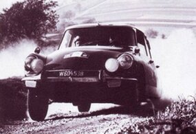 A DS21 competes in a rally, a form of racing in which the DS established an excellent rally.