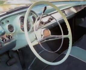 Interior was stock except for the engraved dash and wheel hub plaques.