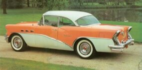The two-tone paint job was a popular feature of the 1956 Buick Special Riviera Coupe.