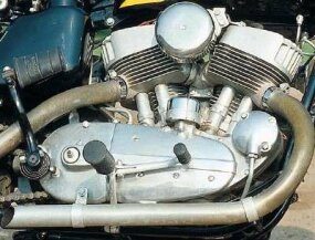 The unit-construction flathead V-twin formed the basis for Harley's upcoming overhead-valve Sportster engine.