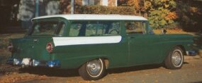 The 1957 Ford Courier Sedan Delivery looked similar to Ford's two-door Ranch wagon but had no rear seat, and the tailgate was hinged at the top.