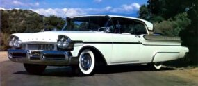 This like-new 1957 hardtop coupe has cruiser skirts, a popular Fifties accessory.