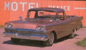 The hood of the 1957-1959 Ford Ranchero was hinged in the front.