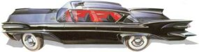 This early sketch for the 1957-1958 featured flaring shark fins and headlamps set high in sculptured fenders.