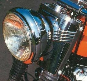 Backing the headlight was a chrome fork cover similar to that used on Harley's big FL models.