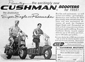 Ads pitched Cushman transportation as economical fun.