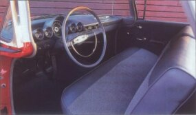 1959 Chevrolet El Camino interior trim and upholstery were akin to that used on low-line Biscayne and Brookwood cars.