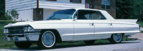 The 1962 Cadillac Series 62 hardtop sported lower fins and less chrome than earlier versions.