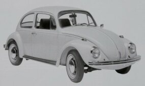 The 1969 Volkswagen Beetle gained a rear window defroster and locking steering column. This example shows the bigger bumpers introduced for 1968.