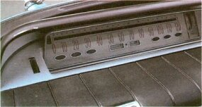 "The 1960 Buick Electra dashboard panel of speedometer, odometer, and ""idiot lights"" is actually a mirror reflecting images from horizontal instruments in front of it."