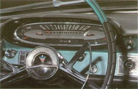 The 1961 AMC/Rambler Ambassador featured a stylized two-tone interior that matched the sculptured exterior.