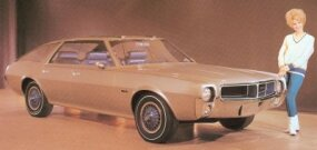 The 1968 AMC AMX III sportwagon concept car was basically a 1968 AMC Javelin coupe turned into a four-door. It didn't make it to showrooms.