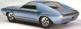"The 1965 AMC AMX concept car was dubbed the ""pushmobile."" It lacked an engine and needed to be pushed around."