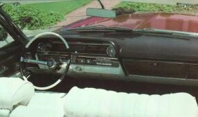 The 1963 Cadillac dash was redesigned with driver comfort in mind.