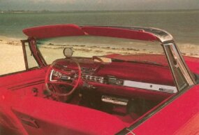 The space-age dash featured a high-mounted speedometer and pushbutton transmission controls.