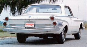The 1962 Dodge Polara 500 two-door hardtop, the most popular model, shows off the staggered taillights.