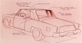 This sketch shows what the demi-convertible Gran Turismo Hawk would have looked like.