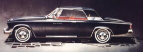 This May 1961 rendering of the Gran Turismo Hawk shows the earmuff over the rear of the roof and the rocker panel trim that was ultimately extended from wheelwell to wheelwell.