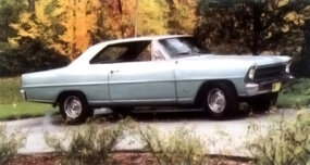 Although the 1965 Chevy II featured new front and rear styling, sedans also had a new roofline. The series 100 two-door sold for $2,077 with the six. This base model doesn't have a radio -- but being a Texas car, it has air.