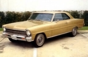 This Butternut Yellow 1967 Chevy II Nova SS has a 327 V-8 and four-speed transmission.