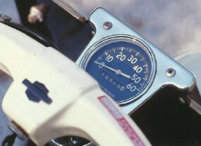 The speedometer was difficult for shorter riders to see, being situated as it was ahead of and below the handlebars.