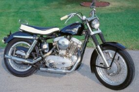 "The XLCH introduced the ""peanut"" tank and ""eyebrow"" headlight cover that would become Sportster trademarks."