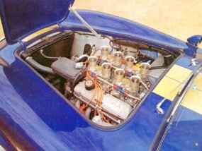 This 1964 Cobra offered a 289 V-8 engine and four Weber carbs.