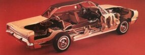 A second cutaway look at the 1965 Dodge Monaco's engine and interior features.