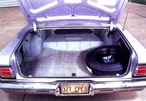 The 1965 Chevelle has ample space in the trunk.