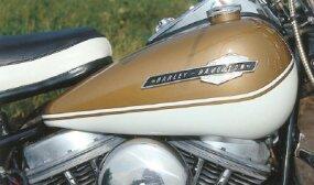 The 1965 Harley-Davidson FL Electra-Glide gas tank.