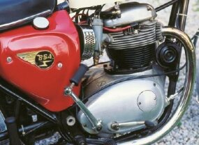 "The BSA engine had ""teardrop"" side covers."