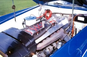 The supercharged 3,257-cc Type 101C engine of the 1966 Exner Bugatti Roadster by Ghia developed 200 horsepower.