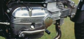 "The crankcase cover read ""Harley-Davidson,"" but the overhead-cam single was built by Aermacchi of Italy and came with a right-side shifter."