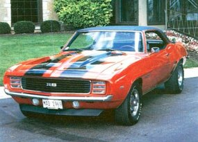 The Chevrolet Camaro was face-lifted for '69, gaining modified side sculpturing in addition to new grille and taillight treatments.