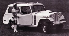 The 1971 Hurst Jeepster Commando featured red-and-blue rally stripes over Champagne White paint.