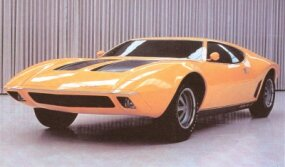 This well-developed mock-up shows the final form of the 1970 AMX/3. It was photographed in AMC's design showroom.