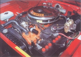 The hemi was fed by dual four-barrel carbs.
