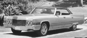New touches for the 1970 Cadillac Sedan de Ville included a new grille and a winged crest on the hood.