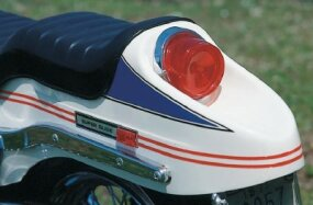 "The ""boat tail"" rear fender was styled after the one that appeared on the 1970 Sportster."