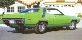 The rear view of the 1971 Plymouth Road Runner shows off its sporty lines.