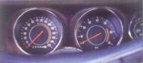 Interior gauges were stylish for the time period.