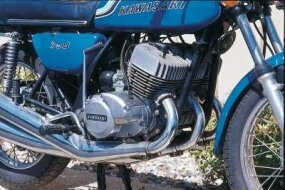 The power output of the 750-cc triple engine proved troublesome for the unwary.