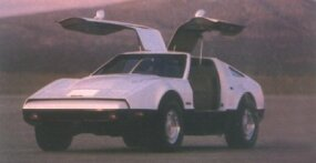 This Safety White Bricklin SV-1 flaunts dark paint on the lower bodysides.