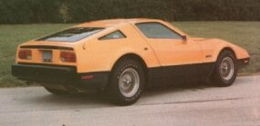 This 1974 Bricklin SV-1 is painted Safety Orange and has a tan and green interior.