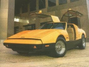 SV-1 stood for Safety Vehicle-1, and indeed all five colors offered had 'Safety' before the name. This Bricklin was painted Safety Orange.