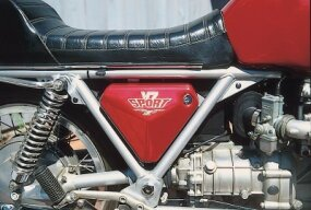 A low-slung frame design and a front-mounted alternator helped keep the Moto Guzzi V7 Sport's weight close to the ground.