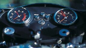 The tachometer's 8000-rpm redline is quite high for a large-displacement twin.