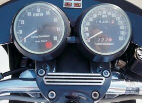 Easy-to-read tachometer and speedometer kept tabs on what Harley-Davidson said was the most-powerful motorcycle it had ever built.