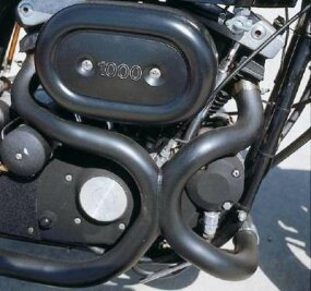 """Siamesed"" exhaust headers helped extract maximum power from the 1000-cc V-twin."